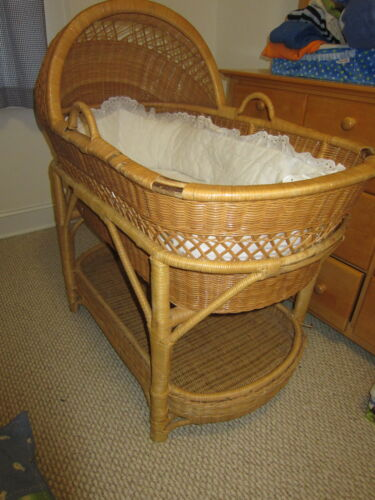 Vintage Off White Wicker Baby Bassinet Stand 1930s