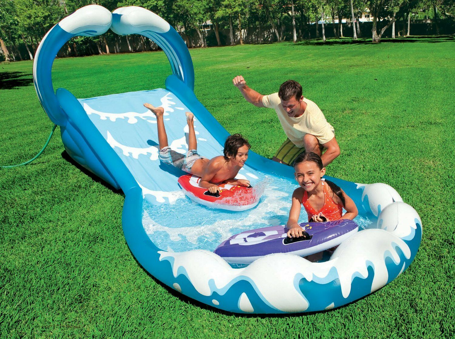 Inflatable water slide commercial pool park kids wet for Children s garden pools