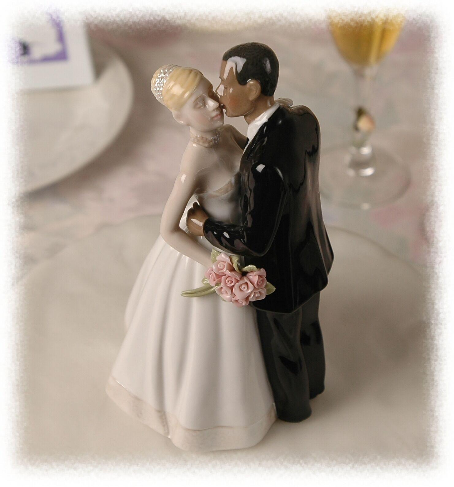 ... Wedding Cake Topper African American Groom White Blond Hair Bride