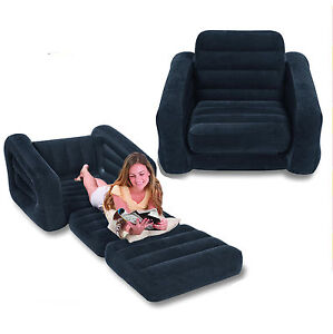 Details about intex inflatable one person pull out chair sofa bed for