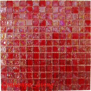 details about iridescent red mosaic glass tile kitchen f backsplash