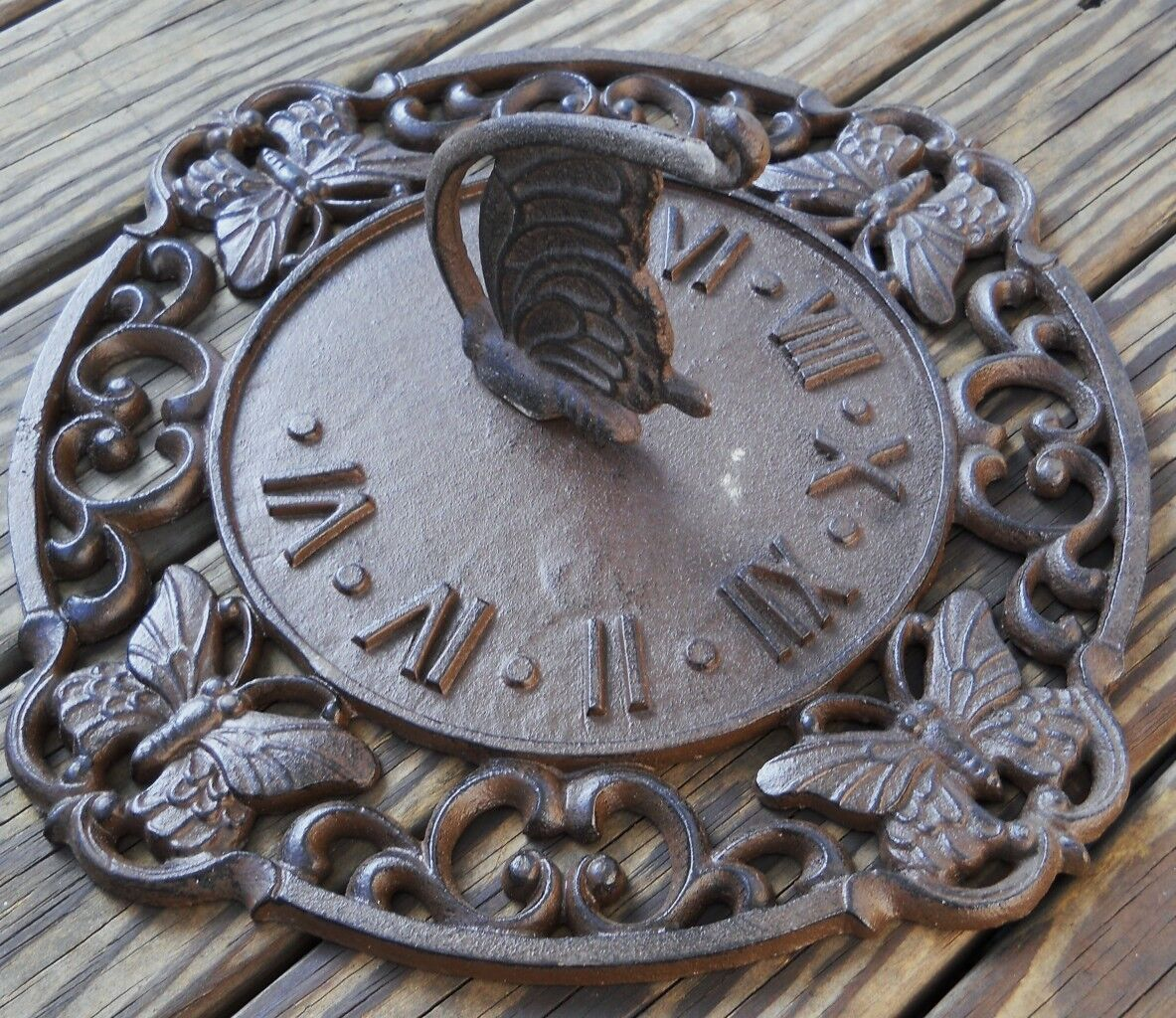 Iron Butterfly Sundial Sun Dial Lawn Garden Decor Sundials Yard Art Gardens