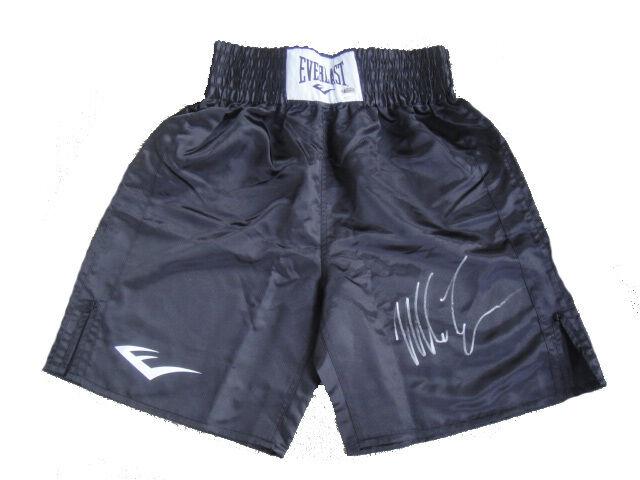 Iron Mike Tyson Signed RARE Black Everlast Boxing Trunks JSA