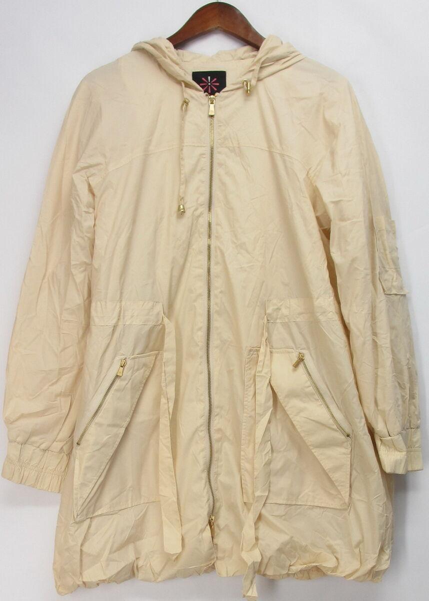 Isaac Mizrahi Live Sz M Water Repellent Hooded Zip Front Jacket Ecru
