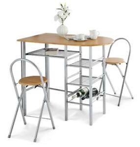Izzie 2 Seat Table Kitchen Breakfast Bar Set Oak Effect
