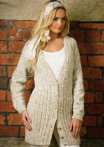 LADIES LONG CARDIGAN RUSTIC ARAN YARN KNITTING PATTERN JB132 | eBay