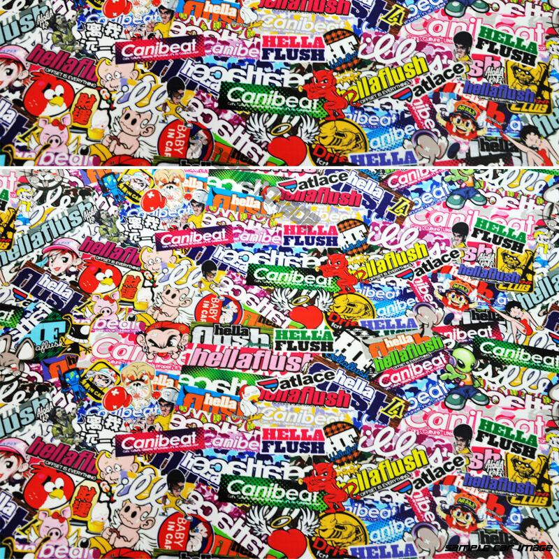 jdm cartoon hellaflush graffiti 30x59 inch sticker bomb vinyl wrap sticker decal ebay. Black Bedroom Furniture Sets. Home Design Ideas