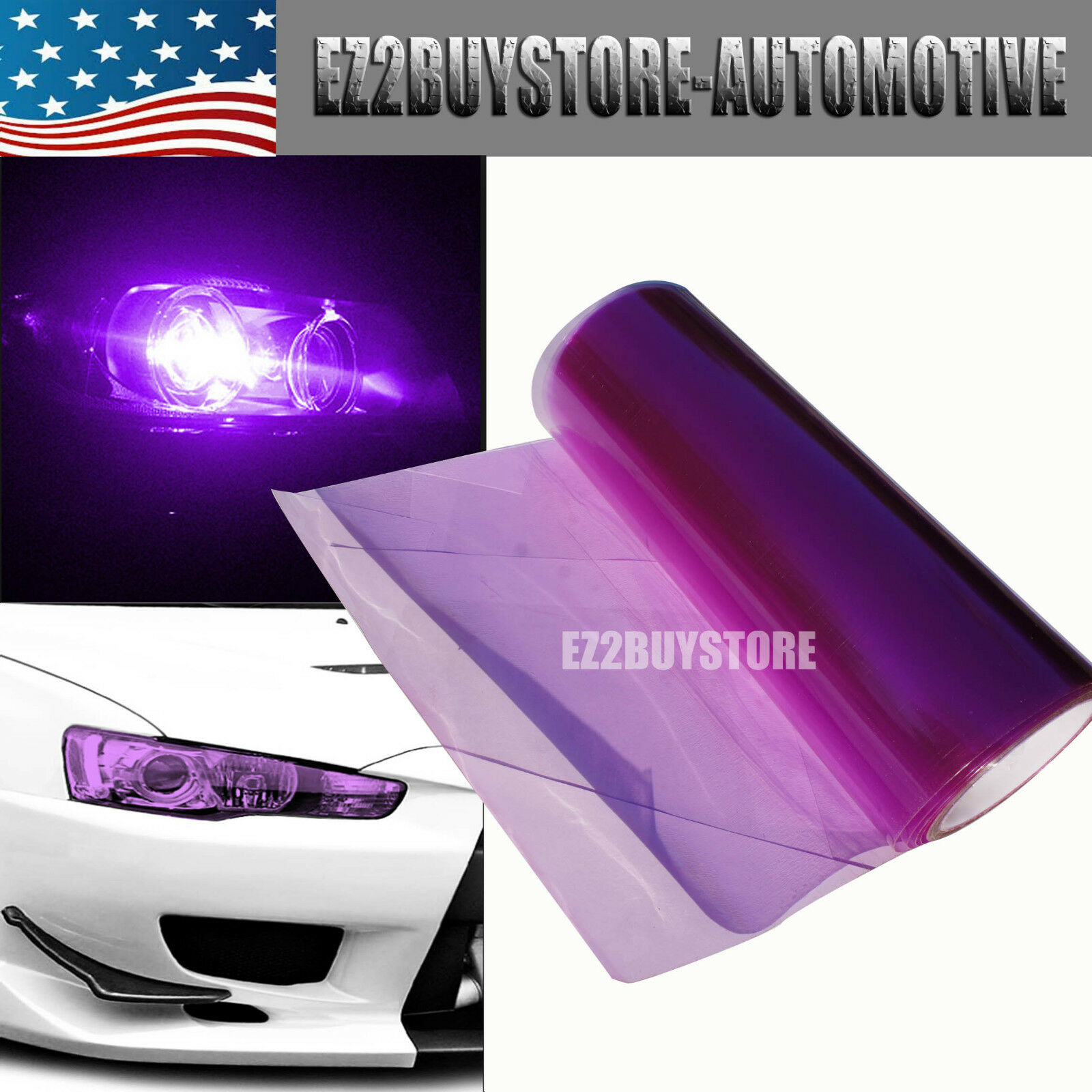 "Average Labour Cost Price To Fit Replace A Heated Towel: JDM Purple Tint Headlight Fog Tail Light Vinyl Film 12"" X"