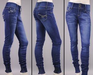 JEANS-HOSE-Roehrenjeans-Stretch-Stretchjeans-Gummizug-Treggings-Jeggings-j02