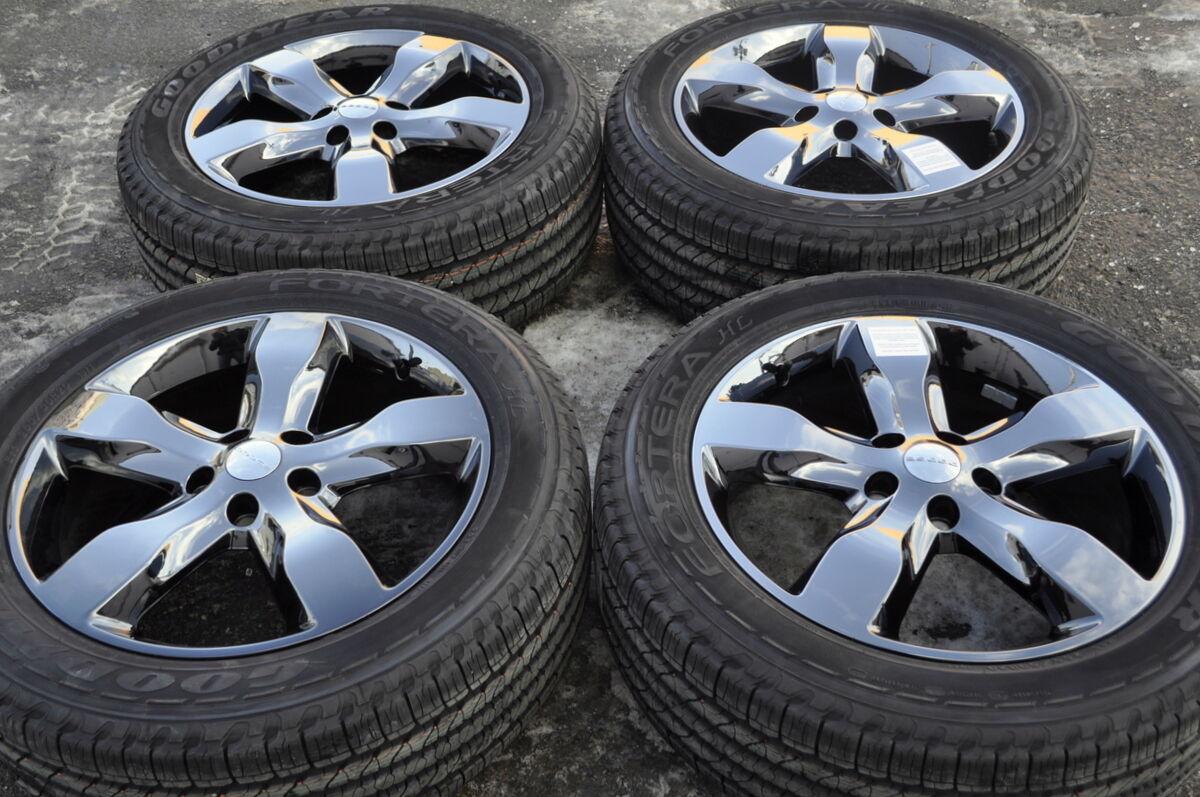 Jeep Grand Cherokee Black Chrome Wheels Tires 265 50 20 Goodyear's 20x8