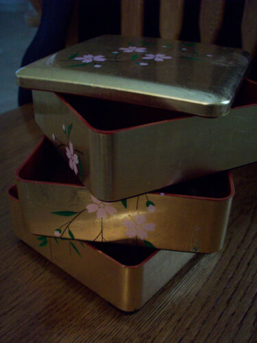 JEWELRY BOX - 3 Stackable Sections - 3 Separate Levels - Gold Painted w/ Flowers in Jewelry & Watches, Jewelry Boxes & Organizers, Jewelry Boxes | eBay