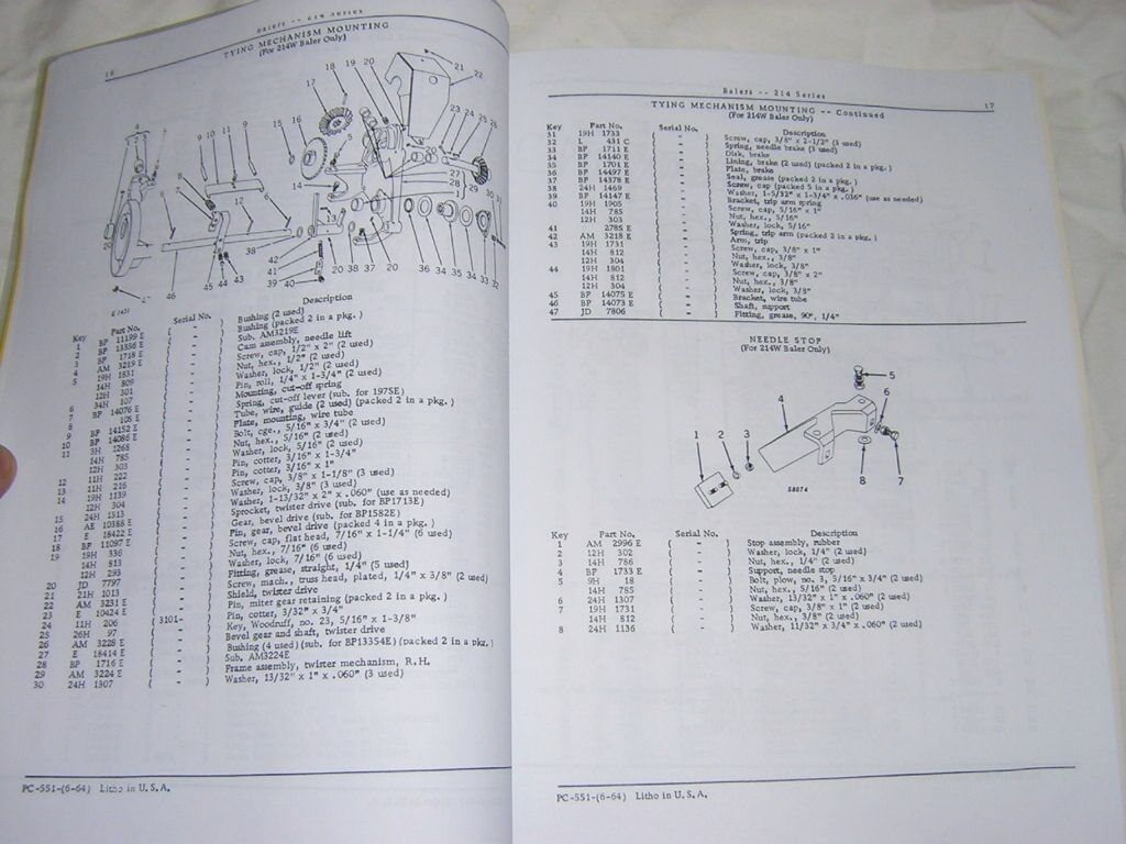 John Deere 214 Baler Parts Catalog Manual