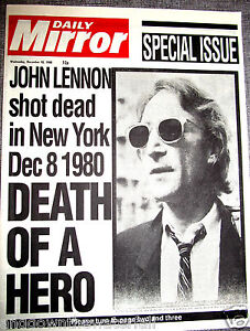 JOHN-LENNON-Shot-Dead-Newspaper-The-Beatles-New-York-Liverpool-Signed-Old-Retro