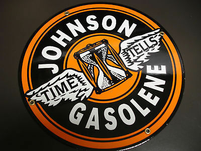 JOHNSON Oil Gas Porcelain Advertising sign in Collectibles, Advertising, Gas & Oil | eBay