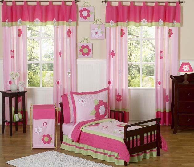 JoJo Designs Floral Pink Green Girl Flower Garden Toddler Kids Bedding Sheet Set