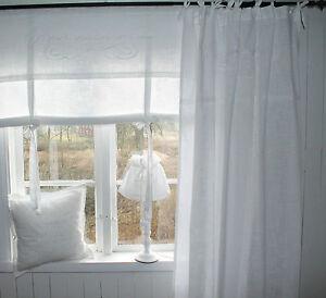 joy raff gardine deko rollo 160x120 wei bestickt shabby chic landhaus vintage ebay. Black Bedroom Furniture Sets. Home Design Ideas