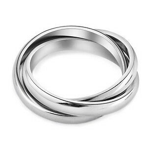 JRS07 Men Women Stainless Steel Three Rings Size 8