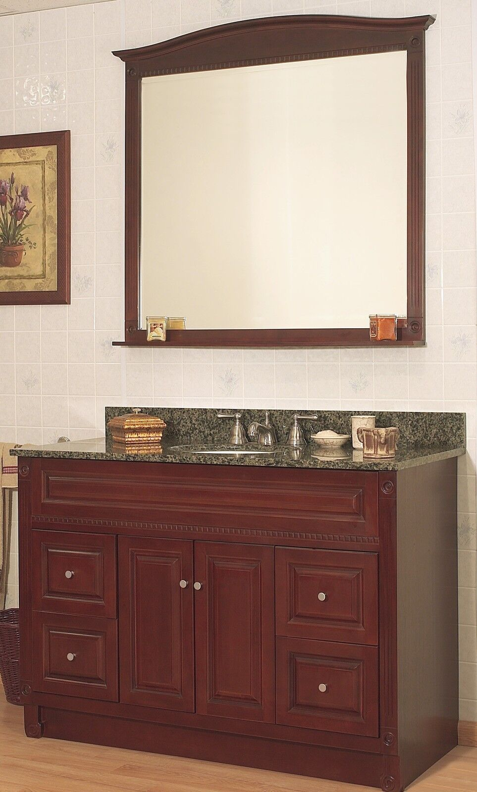 Jsi Concord 48 Cherry Bathroom Vanity Set 4 Drawer Cabinet Base W 30 Mirror Ebay