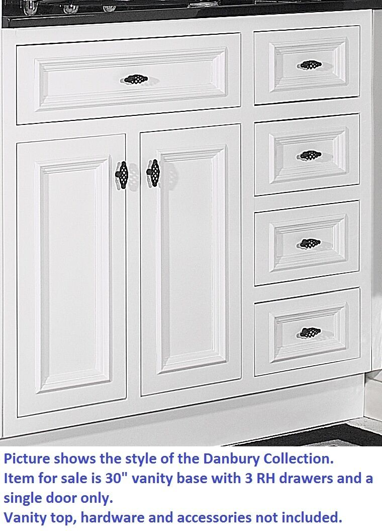 "JSI DANBURY WHITE BATHROOM 30""W VANITY BASE SOLID WOOD ..."