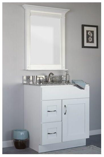 Jsi Dover Bathroom Vanity Set White Cabinet Base Mirror 30