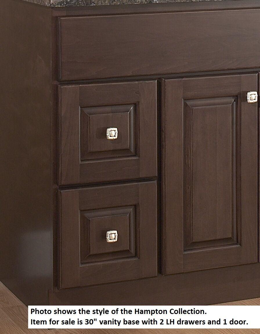 "JSI Hampton Bathroom Vanity Base 30"" Wood Frame 2 LH Drawers Single ..."