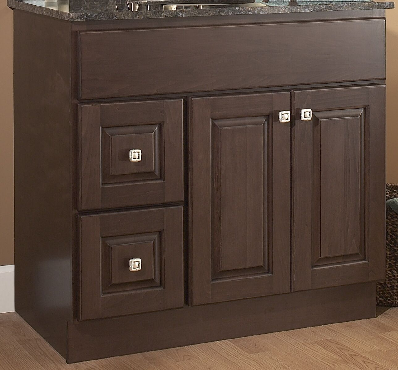 bathroom vanity base 36 wood frame 2 lh drawers 2 door dark stained