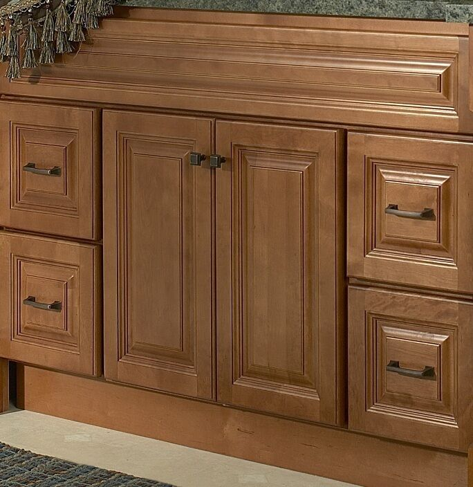 Jsi rockport bathroom 48 w vanity sink cabinet base only maple 2 doors 4 drawers ebay - Bathroom vanity cabinet base only ...