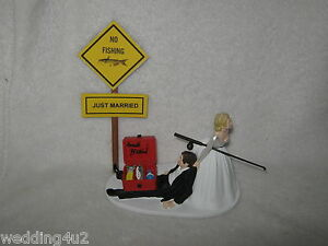 JUST MARRIED FISHING FUNNY HUMOROUS BRIDAL WEDDING CAKE TOPPER EBay