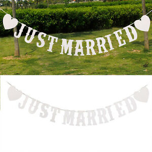 just married wei buchstabe banner girlande wimpelkette. Black Bedroom Furniture Sets. Home Design Ideas