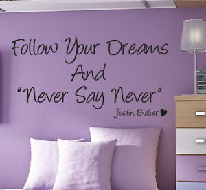 images of justin bieber never say wall quote art sticker kids bedroom wallpaper