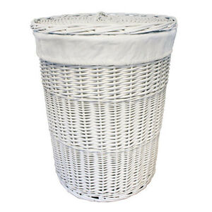 Jvl white willow wicker round linen laundry basket with White wicker washing basket