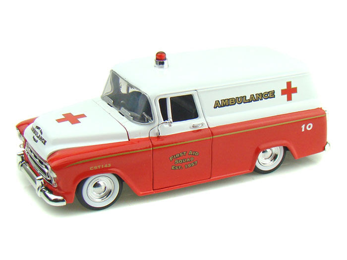 Jada 1 24 1957 Chevy Chevrolet Suburban Ambulance Fire Department