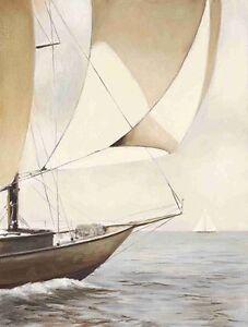 James-Wiens-Full-Sail-Fertig-Bild-30x40-Wandbild-Meer-segeln-Segelschiff