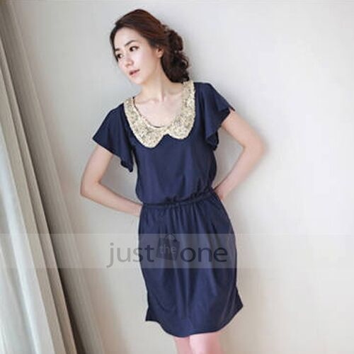 Japan Korea New Sweet Girls Peter Pan Collar Sequins Batwing Sleeve Slim Dress