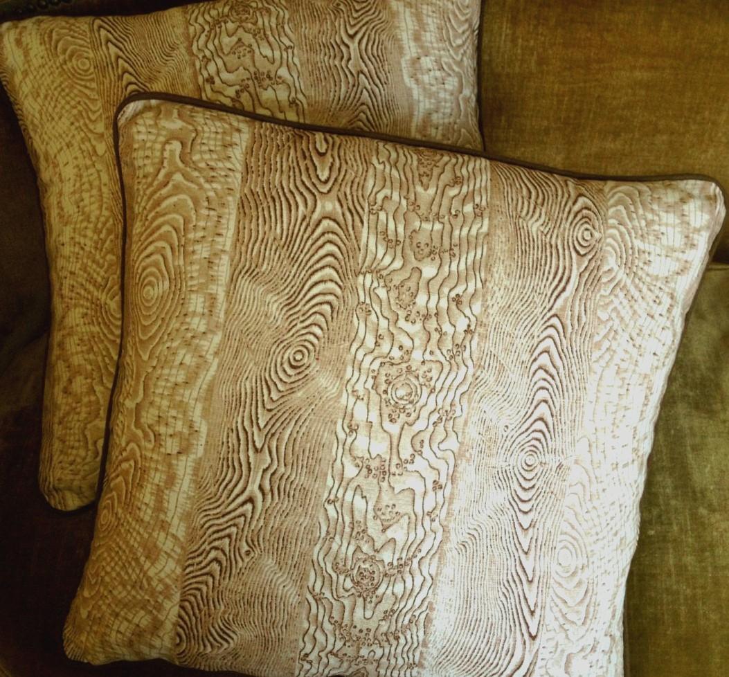 jed johnson faux bois fabric custom designer throw pillows
