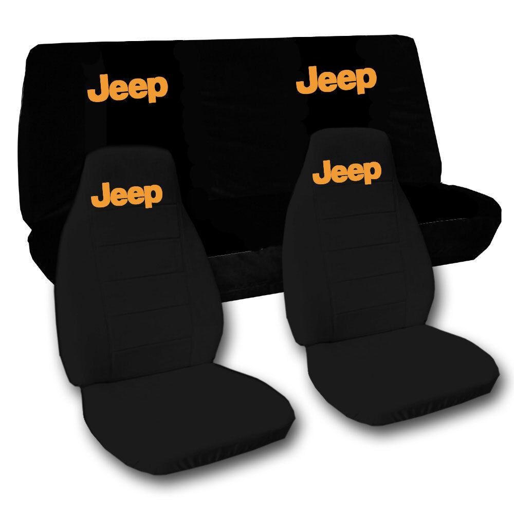 jeep wrangler yj front back car seat covers solid black w jeep choose. Black Bedroom Furniture Sets. Home Design Ideas
