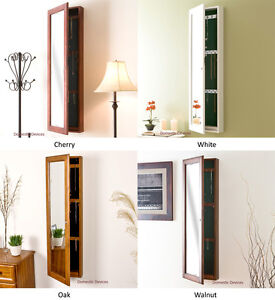 Jewelry Armoire Organizer With Full Length Mirror Solid Wood Jewelry Cabinet Ebay