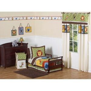 JoJo-Designs-5-Pc-Jungle-Themed-Crib-Toddler-Bed-Cute-Kids-Boys