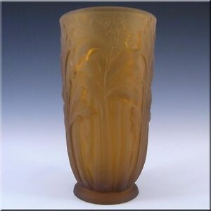 Jobling-1930s-Amber-Art-Deco-Glass-Celery-Vase-11800