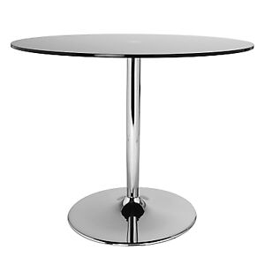 lewis pearl glass chrome round dining table 100cm dia ex display base