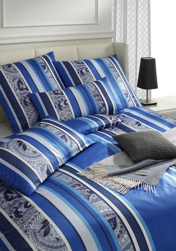 joop mako satin bettw sche 135x200 cm paisley stripes 4056 2 blau ebay. Black Bedroom Furniture Sets. Home Design Ideas