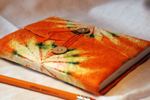 Journal Dairy Notebook Lokta Paper Orange 5x6 Nepal Handmade Tye Dye Free Ship in Books, Accessories, Blank Diaries & Journals | eBay
