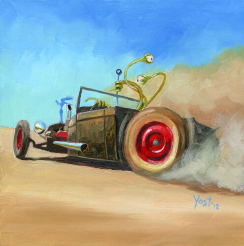 Joyrider From Outer Space 5, Ford Pickup Rat Rod, Original Oil Painting in Art, Direct from the Artist, Paintings | eBay