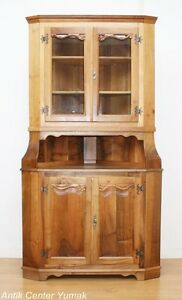 jugendstil eckvitrine regal b cher glas schrank buffet bank tisch nussbaum antik ebay. Black Bedroom Furniture Sets. Home Design Ideas