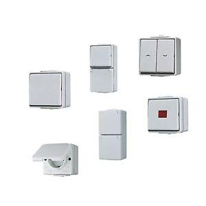 Schutzart Ip44 jung wg600 aufputz schalter taster steckdosen und kombinationen schutzart ip44 ebay
