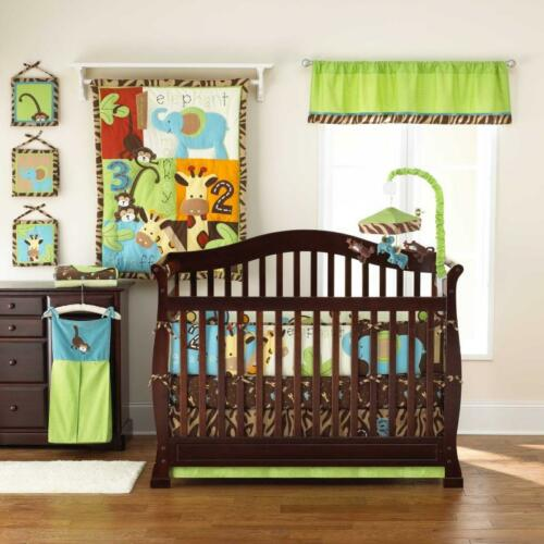 Jungle Monkey Unisex Animal Giraffe 5pc Neutral Zoo Nursery Crib Bedding Set in Baby, Nursery Bedding, Crib Bedding | eBay