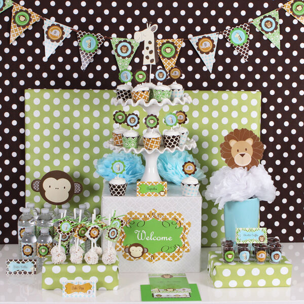 Jungle safari theme baby shower birthday mod party for Baby shower decoration kit