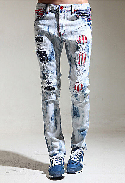 K-Pop Style mens skinny jeans vintage wash flag pants slim hip hop spandex jeans