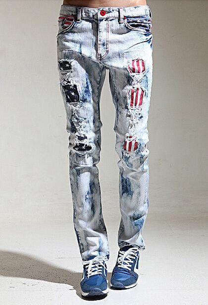 K-Pop Style mens skinny jeans vintage wash flag pants slim hip hop spandex jeans