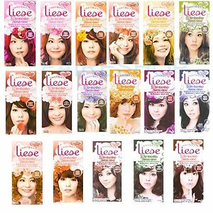 Kao Liese Bubble Hair Color evenly Coloured Brown Black Orange Pink ...